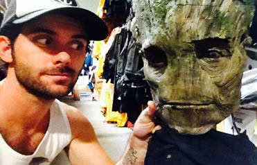 Holding the Groot Mask from Guardians of the Galaxy